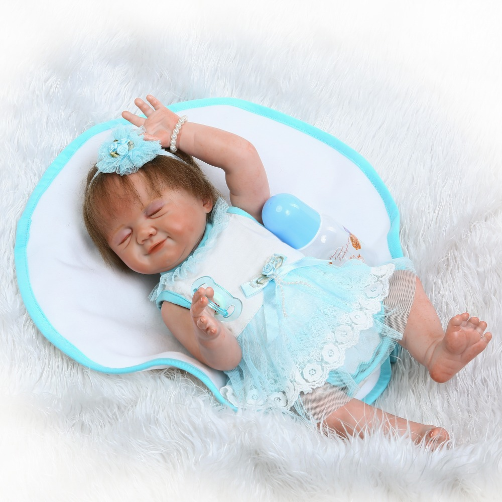 50cm Full Body Silicone Reborn Sleeping Girls Babies Doll Toys Realistic Newborn Baby Doll Birthday Gift Bedtime Play House Toy silicone reborn baby doll toy for girls soft newborn babies hight quality birthday gift bedtime play house early education toys