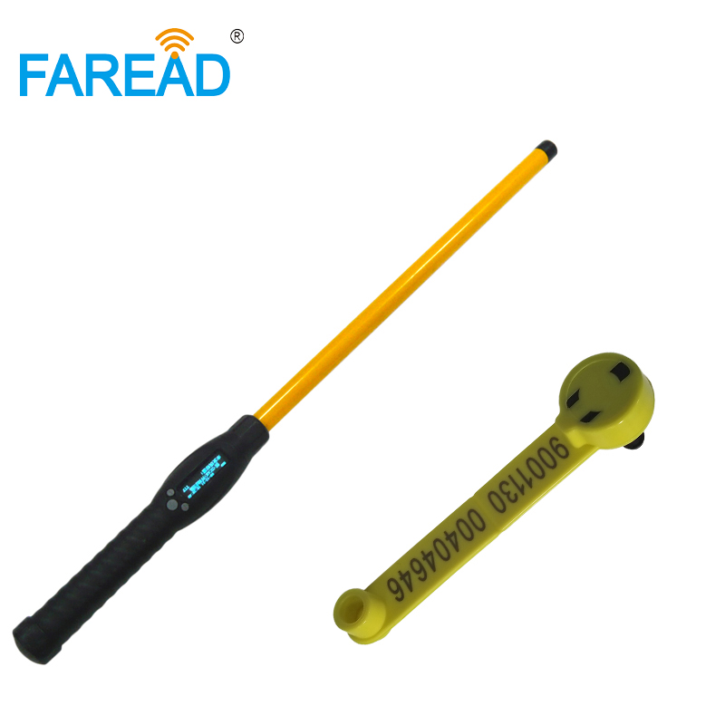 125khz134.2KHz Animal Stick Reader LF handheld Bluetooth & USB portable scanner+x100pcs FDX-B RFID visual EID ear tag for sheep
