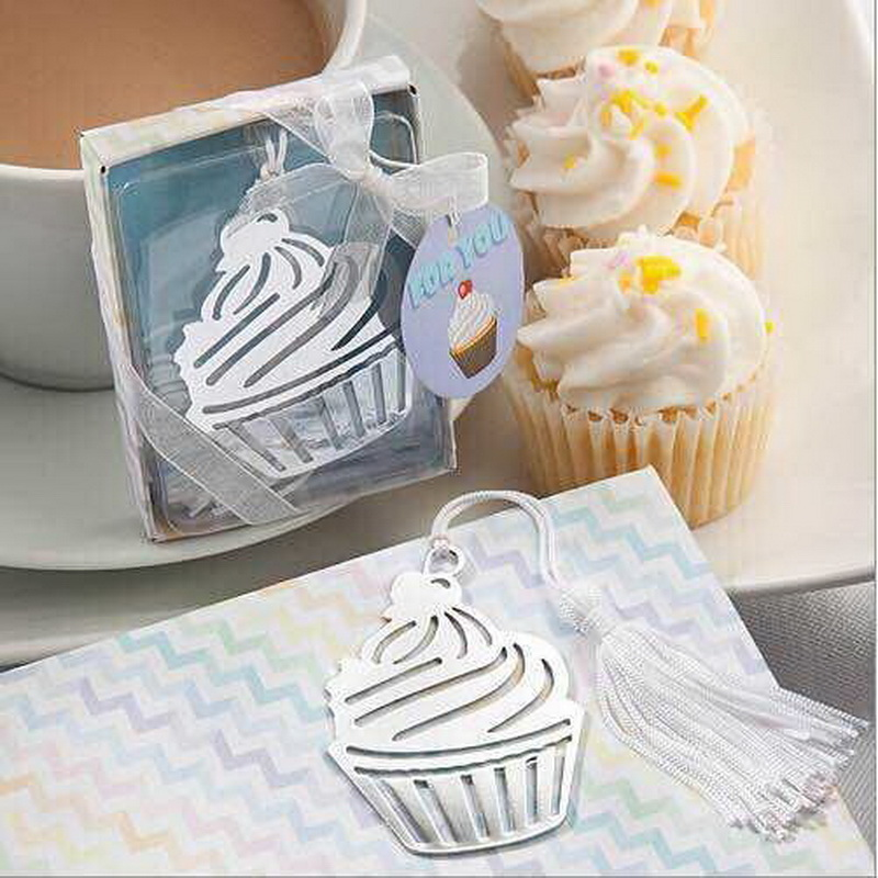(100pcs/Lot)FREE SHIPPING+Wedding Birthday Gift Cupcake Design Bookmark Baby Shower Favors Bookmarks For Book
