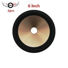 купить 2 pcs/lot  6 Inch Speaker Rubber Edge Paper Cone Full Frequency Thickening Gold Color Plastic Cones Basin 27 mm Core по цене 664.34 рублей