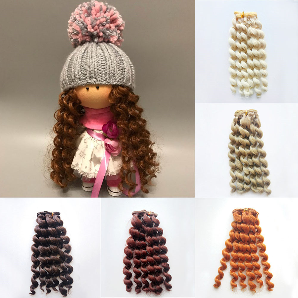 1pcs 20*100cm Screw Curly Hair Extensions For All Dolls DIY Hair Wigs Heat Resistant Fiber Hair Wefts