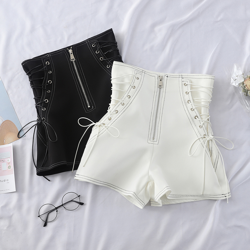 Onlyplus Spring Sexy Women Faux PU Shorts Zipper Style High Waist Fake Leather Broad-legged Short Solid Slim Feminino Shorts