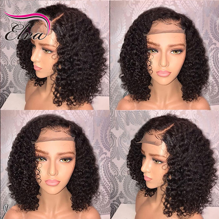 Elva Remy Hair Short Human Hair Wigs For Black Women Curly Lace Front Human Hair Wigs Pre Plucked With Baby Hair Bob Wig 8 16 39 39 in Human Hair Lace Wigs from Hair Extensions amp Wigs