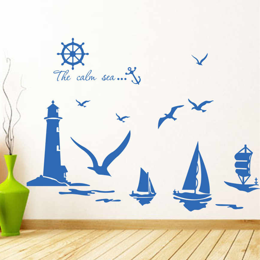 Fashion Blue sea voyage navigation wall stickers sailboat seabirds rudder anchor decor wallpaper diy vinyl removable home decal
