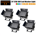 Freeshipping 4XLOT Indoor Wall Washer Lighting 320W High Power Led Flood Light RGBW 4IN1 Color MIxing 24x12W DMX Stage Lighting
