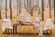 Laeacco Autumn Forest Desk Candle Flowers Chair Wedding Photography  Background 6d0162f98776