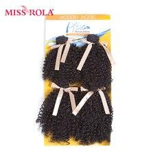 Miss Rola 7-8,5 дюймов кудрявая завивка искусственных волос 1B# два пучка волос для наращивания 4 пучка сделки 200 г/упак. полная голова Kanekalon волос