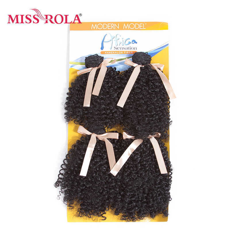 Miss Rola 7-8.5inch Curly Synthetic Hair Weave 1B# Double Weft Hair Extensions 4Bundles Deal 200g/Pack Full Head Kanekalon Hair