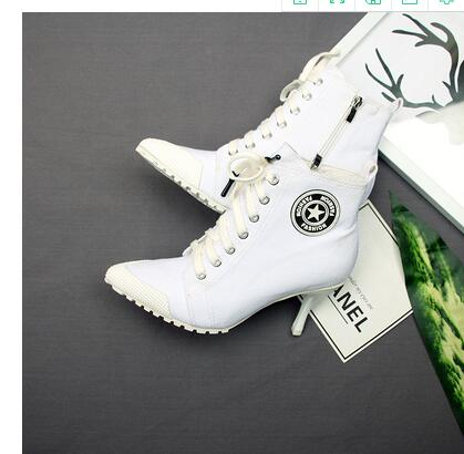 5 2018 Dame Talon rose Cm De Toile Femmes Femelle orange En Nouvelles Mince Tennis Talons noir Denim 8 Lacets Bottes Chaussures Dames Bottines À Hauts Beige PacrPy