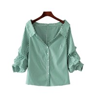 69b4260efa Blusa Trabalho. Women S Shirt Striped Green And White Blouse Summer Tops  Fashion Turn Down Collar ...