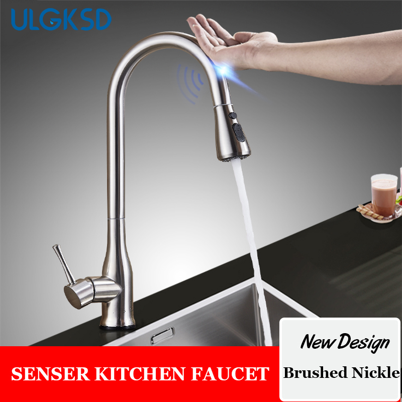 sensor kitchen faucets ulgksd stainless steel sensor kitchen faucet pull down spray automatic sensitive faucets touch 9028