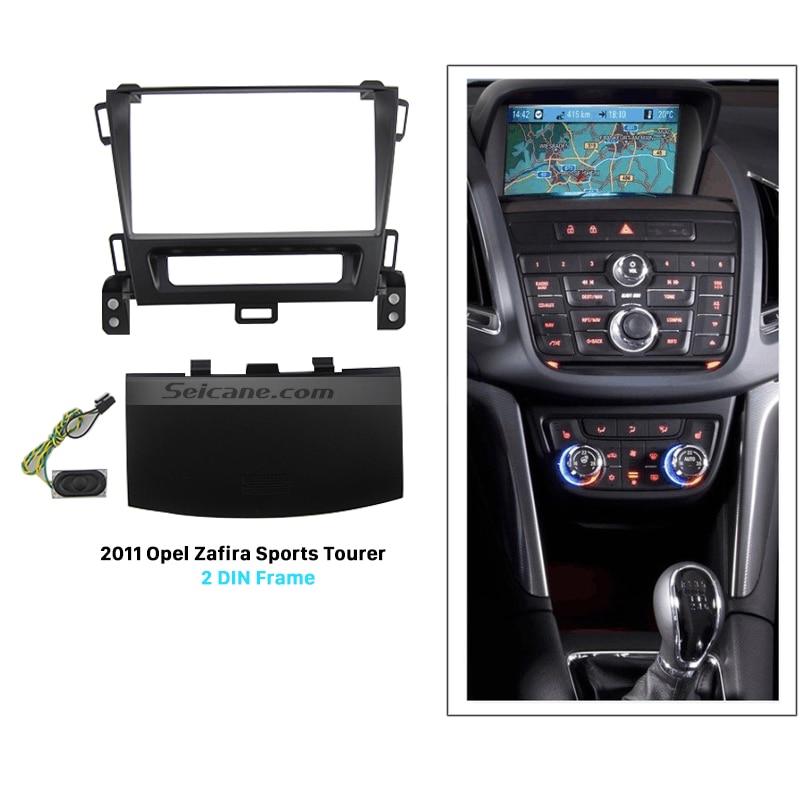 Seicane Black 2Din Car Radio Fascia for 2011 Opel Zafira Sports Tourer Dash CD Installation Kit Stereo Frame Panel