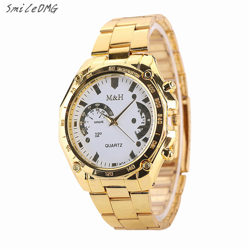 SmileOMG Luxury Women Mens Golden Stainless Steel Band Analog Quartz Sport Wrist Watch Christmas Gift Free Shipping ,Sep 8 smileomg hot sale fashion women watch panda faux leather band analog quartz wrist watch christmas gift free shipping sep 6