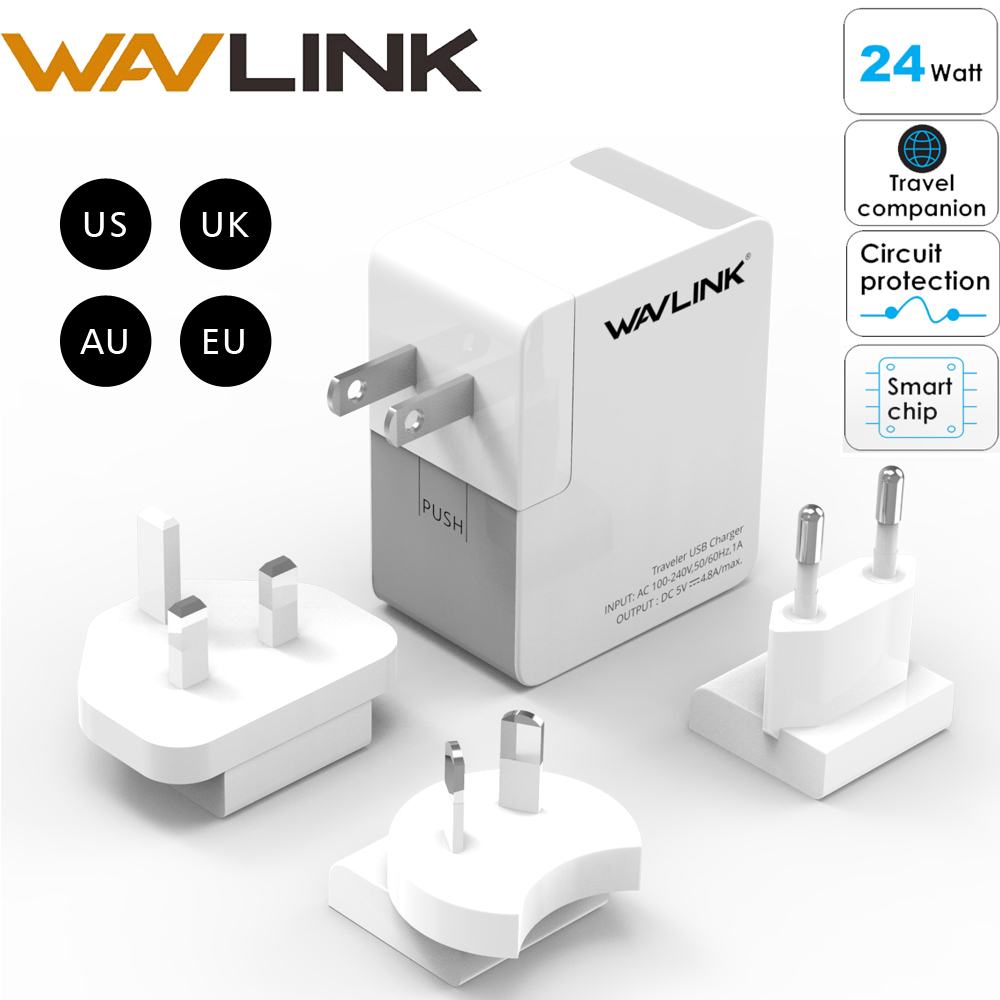 USB Charger Universal Travel Wall Charger Adapter Dual Mobile Phone Charger 4.8A EU US UK AU Plug kit Wavlink for iPhone Samsung