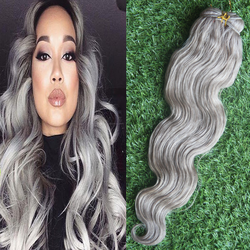New 7a unprocessed peruvian virgin hair body wave silver gray hair new 7a unprocessed peruvian virgin hair body wave silver gray hair extensions 1pcslotperuvian gray human hair weave bundles in hair weaves from hair pmusecretfo Images