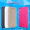 Para sony xperia x performance série brilho nillkin 5.0 polegada capa de couro para sony x performance dual f8132 f8131 aleta caso