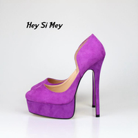 16 cm Hollow purple suede stiletto heels suede high heels classic black large size 8.5 18
