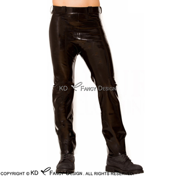 Black Sexy Latex Leggings with Flat Front Rubber Pants Jeans Trousers Bottoms CK-0033