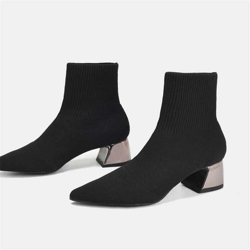 Jady Gül Seksi Siyah Kadın Örgü Çorap Çizme Kadın yarım çizmeler Tıknaz Yüksek Topuk Ayakkabı Kadın Slim Fit Kısa Patik binici çizmeleri