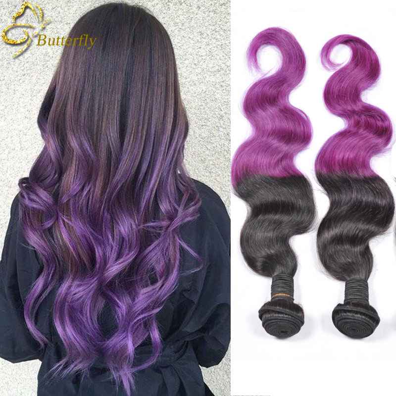 New Hot Star Purple Hair Extensions 3 Bundles Ombre Weave Peruvian