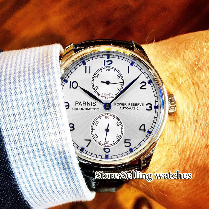 лучшая цена Parnis 43mm Men's watch Power reserve ST2542 Automatic movement silver dial blue hands wrist watch men