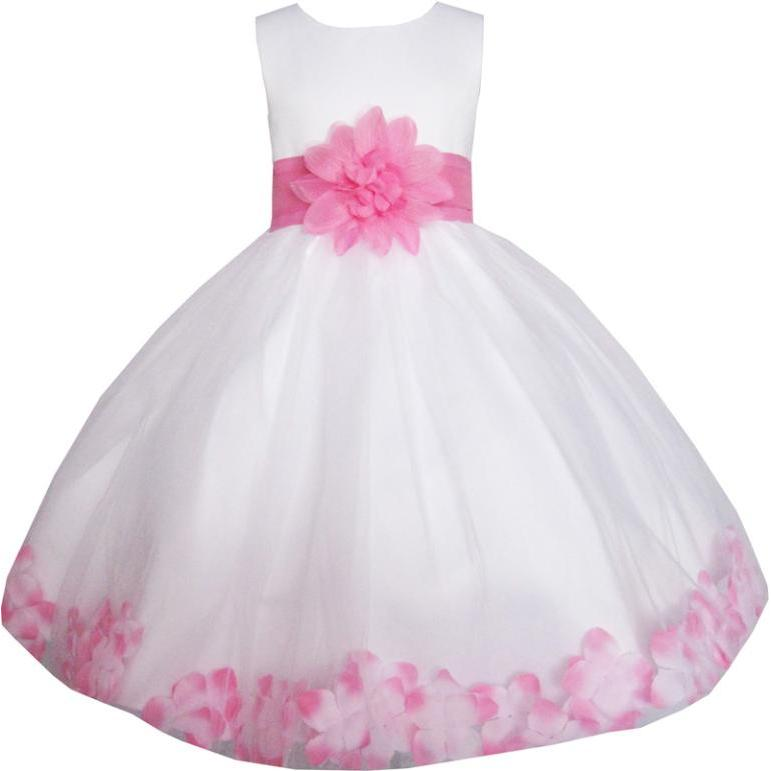 Girls Dress White Pink Flower Wedding Bridesmaid Christmas Holiday Kids 2018 Summer Princess Party Dresses Clothes Size 2-14 sunny fashion girls dress christmas hat red velvet long sleeve holiday 2018 summer princess wedding party dresses size 4 14