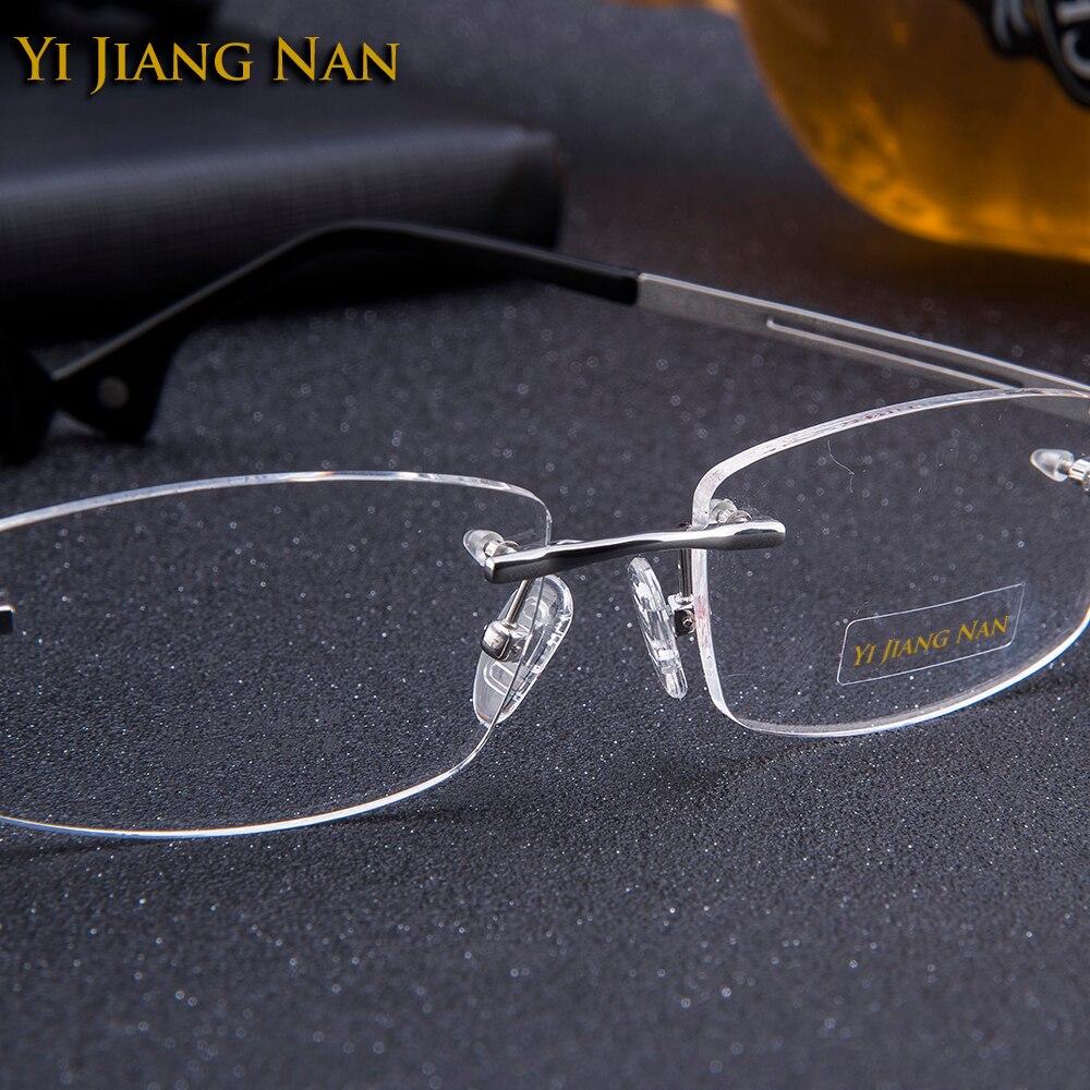 Yi Jiang Nan Brand Glasses Myopia Big Size Optical Glasses Transparent Man 39 s Eyeglasses Rimless Titanium Spectacles for Mens 145 in Men 39 s Eyewear Frames from Apparel Accessories