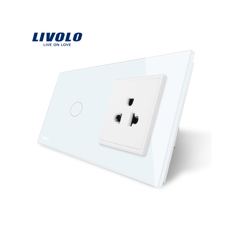 Livolo Touch Switch&US Socket, White Crystal Glass Panel, 110~250V 13A US Wall Socket with Light Switch, VL-C701-11/VL-C7C1US-11 free shipping smart home us au standard wall light touch switch ac220v ac110v 1gang 1way white crystal glass panel