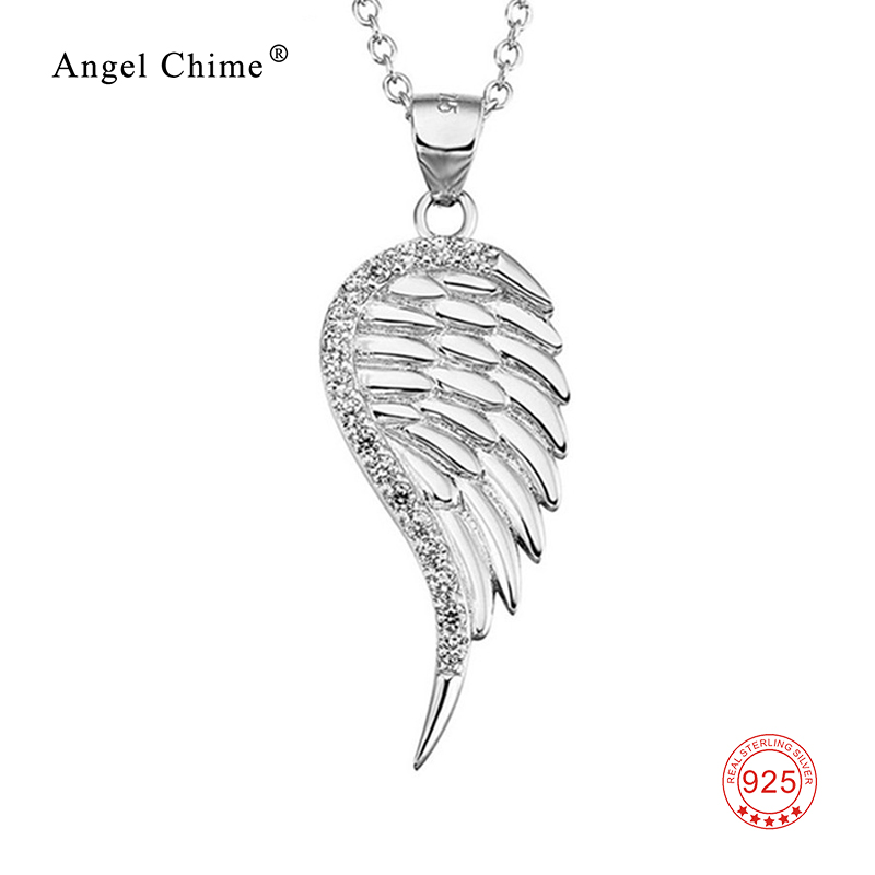 925 Sterling Silver Angel Wing Necklace AAA Cubic Zirconia Pendant Statement Necklaces Fashion Collier Jewelry Kolye For Women