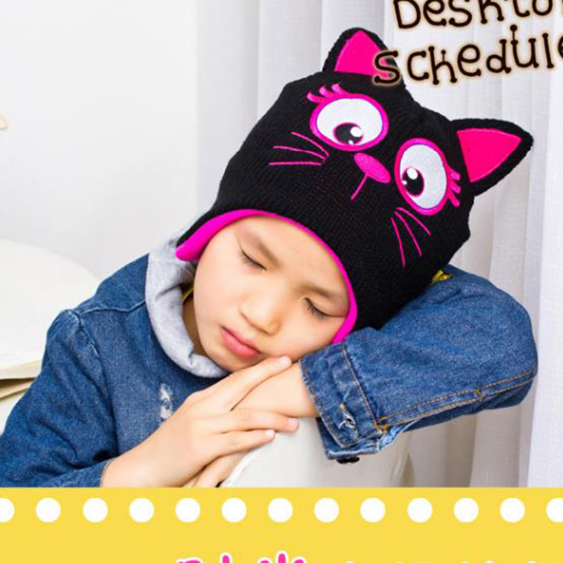 Kids Girls Bonnet Cute Cat Embroidery Print Skullies Children Boys Knit Wool Thicken Caps New Winter Warm Crochet Earflap Hats newborn kids skullies caps children baby boys girls soft toddler cute cap new sale