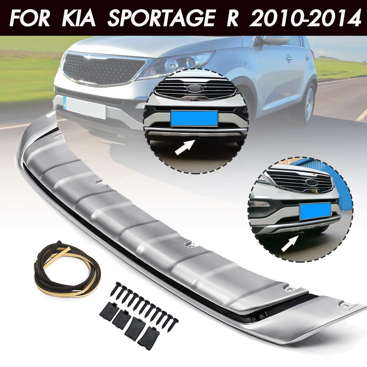 Car Front Bumper Guard Protector Cover Trim Chrome Bumper Protection For KIA Sportage R 2010 2011 2012 2013 2014-in Bumpers from Automobiles & Motorcycles    1