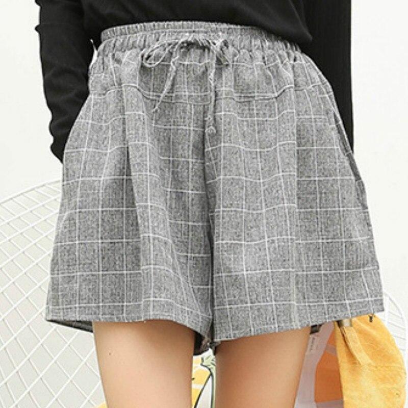 New 2019 Summer Short   Pants   Harajuku Style Cotton Linen Plaid   Wide  -  Leg     Pants   Plus Size Loose Belt Pockets High Waist Grey   Pant