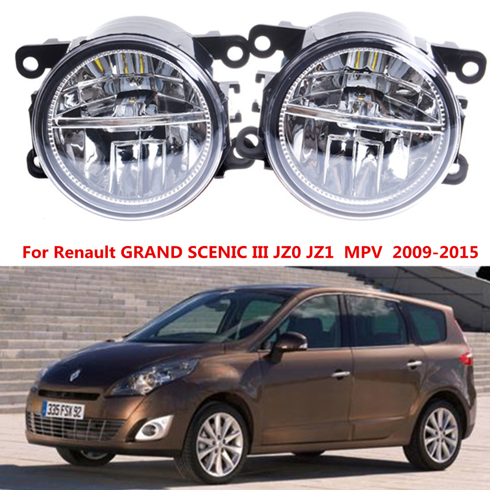 For Renault GRAND SCENIC III JZ0 JZ1  MPV  2009-2015 10W LED fog lights Car styling drl led daytime running lamps 1SET куплю тормозные колодки на renault scenic rx4