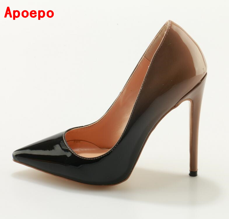 Hot Selling Pointed Toe Low Top Stiletto Heels Gradient Pumps 2017 Hottest Slip-on Stiletto Heels Woman Dress Shoes Big Size 10 нож поварской tima кт 336
