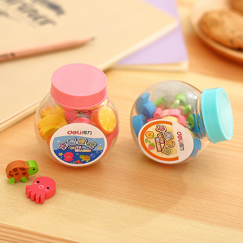 20 Pcs/lot Mini Kawaii Cartoon Animal Eraser Cute Creative Fruit Rubber Eraser For Kids Correction Free Shipping