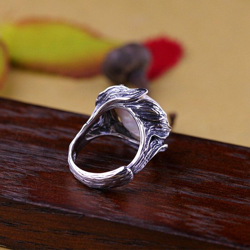 Original fait à la main en argent Sterling 925 Baroque perle anneau véritable naturel perle d'eau douce Vintage Thai traitement de l'argent-in Anneaux from Bijoux et Accessoires    3