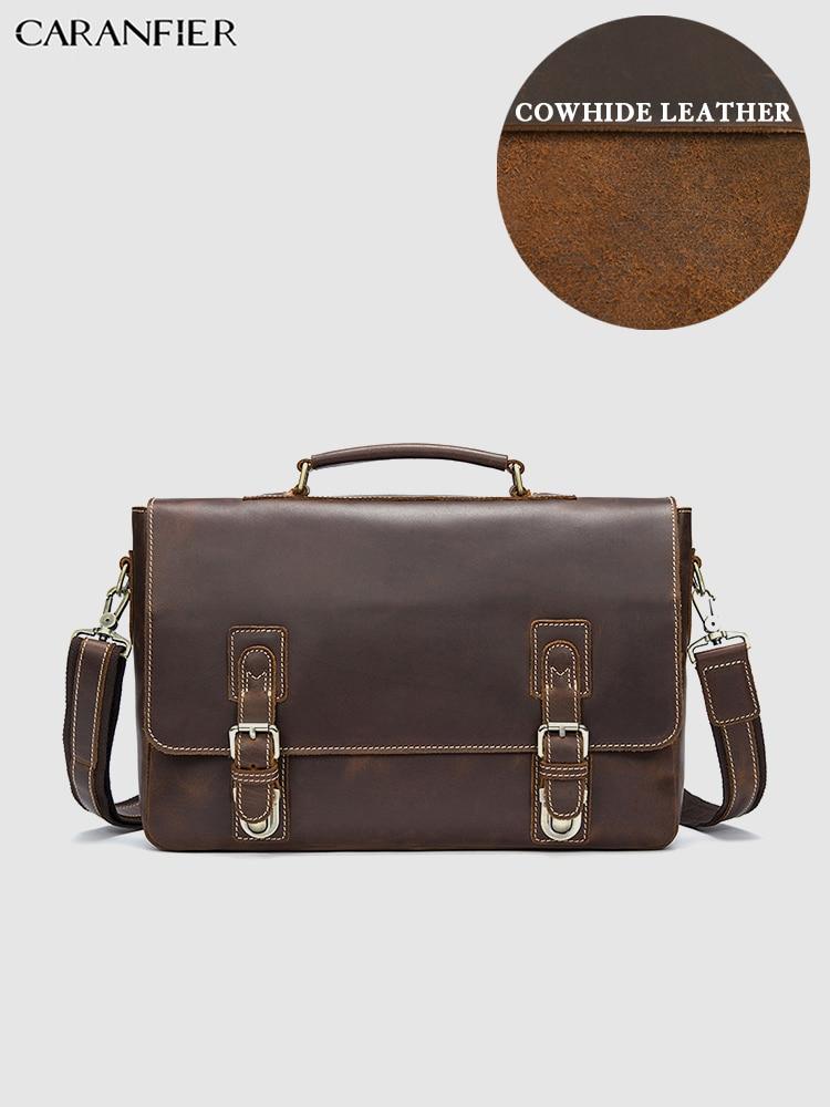 CARANFIER Mens Briefcases Crazy Horse Genuine Leather Business Handbag Vintage Solid Male Laptop Tote Flap Pocket Messenger Bags