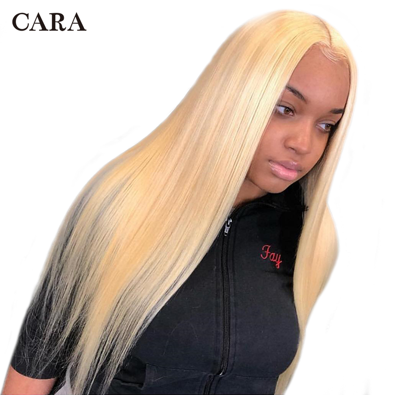 613 Blonde Lace Front Wig Brazilian Human Hair Wig 150% 360 Lace Frontal Wig Pre Plucked With Baby Hair CARA Remy Straight Wig(China)