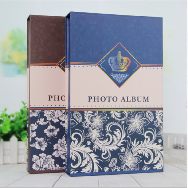 4r 6 inch boxed photo album retro creative brown blue floral cover interleaf type for 300 photos. Black Bedroom Furniture Sets. Home Design Ideas