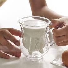 купить Creative Glass Cow Cups Double Wall Handgrip Milk Cup Mug Insulation Transparent Drinkware Udder Style Creamer Pitcher Jug дешево