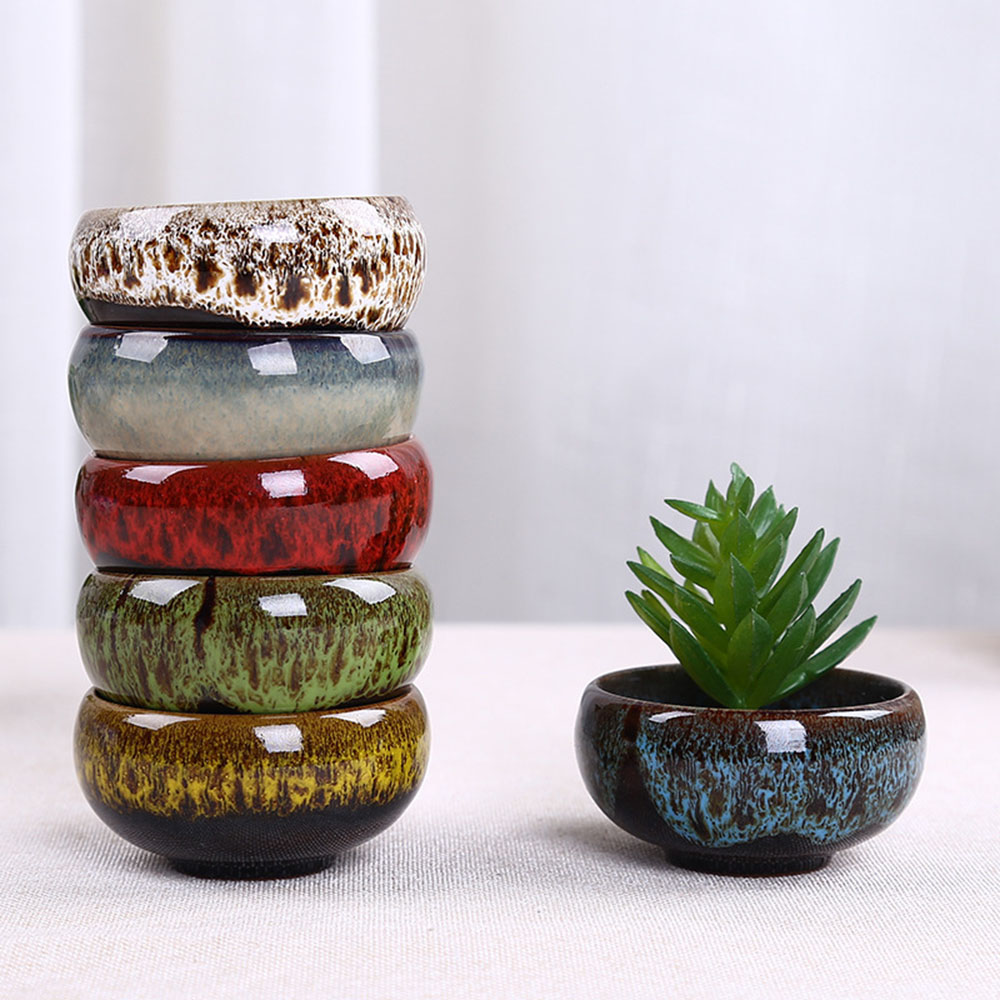 Mini Succulent Potted Succulent Plant Flower Ceramic Flower Pot For Juicy Plants Growing Small Bonsai Pots Home And Garden Decor