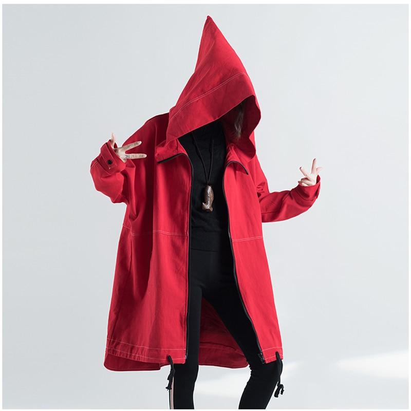 Autumn Oversized Hooded Jacket Female Long Plus Size Windbreaker Harajuku Jacket Hip Hop Funny Women Coats And Jackets 3