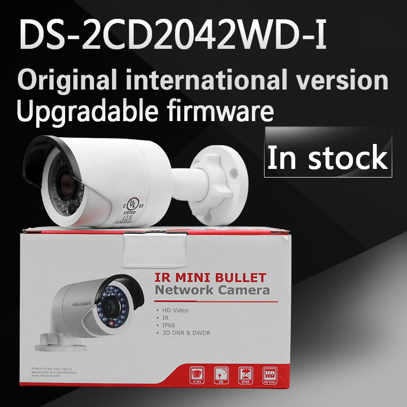 In stock free shipping english version  DS-2CD2042WD-I 4MP IR Bullet Network Camera Support H.264+