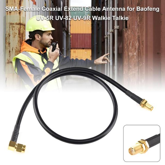 For Baofeng UV-5R UV-82 UV-9R Walkie Talkie SMA-Female Coaxial Extend Cable Antenna Coaxial Cable With SMA-Male To Antenna/Radio 1