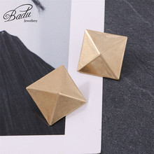Badu Big Square Stud Earrings for Women Gold Silver Geometric Punks Studs Statement Jewelry Holloween