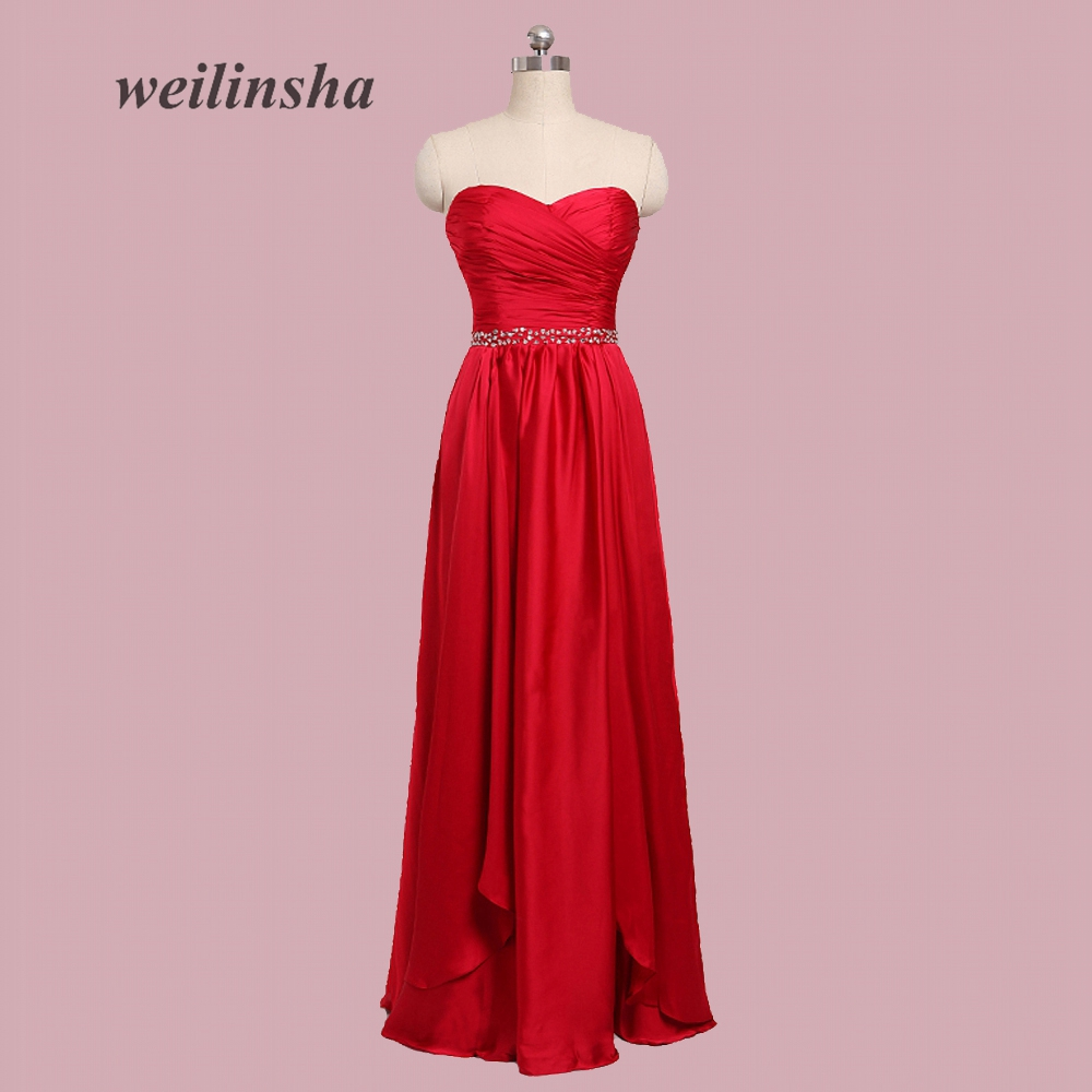 weilinsha   Bridesmaid     Dresses   Wedding Party   Dress   Sweetheart Sleeveless Beach Formal Prom   Dress   Stain   Bridesmaid   Gown