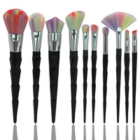 10pcs Sets New Fashion Bright Color Blue Fiber Wool Makeup Brush Screw Tower Makeup Brush Set
