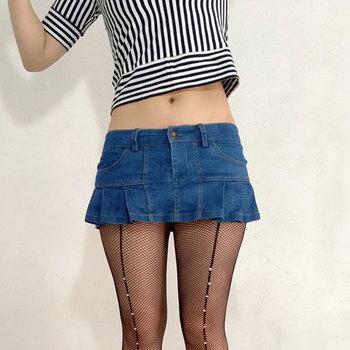 Sexy Mujer Plus tamaño plisado Micro Mini falda Jeans bolsillo etapa Falda  de baile bajo cintura VintageTUTU falda con volantes Denim F55 fdd53cd27972