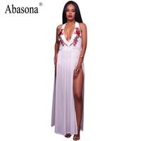 Abasona Evening party long dress women sexy V-neck halter chiffon beach summer maxi Dress flower embroidery split white vestidos