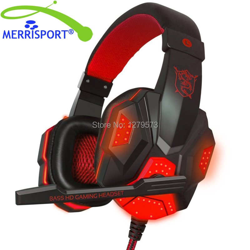 MERRISPORT Gaming Headsets with Microphone for PS4 PC Laptop Computer 3.5mm USB 2.0 Over Ear Headphones Headsets with LED Light merrisport lightweight foldable wired girls headphones kids headsets with microphone and remote control for computer phone mp3 4